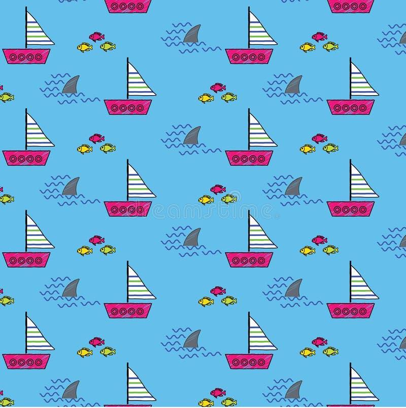 Fundo do teste padrão de Samless com as aletas e os peixes do tubarão dos barcos de navigação ilustração royalty free
