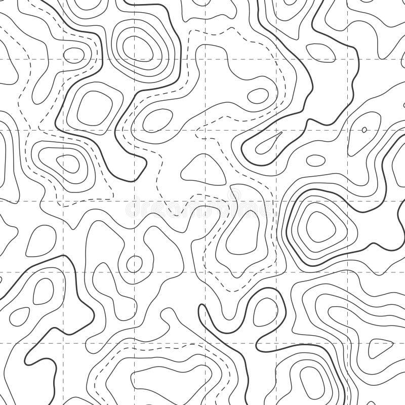 Fundo do teste padrão do diagrama do mapa topográfico ilustração do vetor