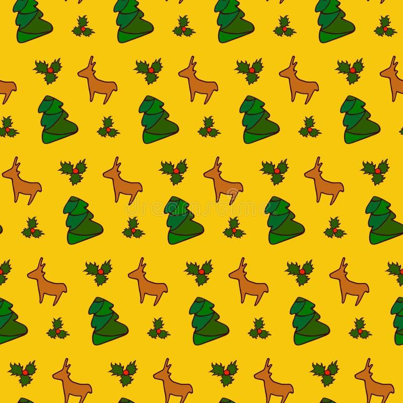 Fundo do teste padrão do Natal Projeto do inverno Ilustração do vetor foto de stock