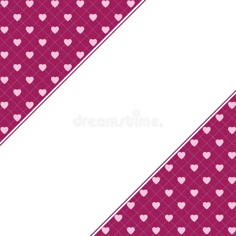 Fundo do teste padrão dos corações com quadro para o texto O dia de Valentim e do dia de mãe cartão com bandeira da beira, convit ilustração royalty free