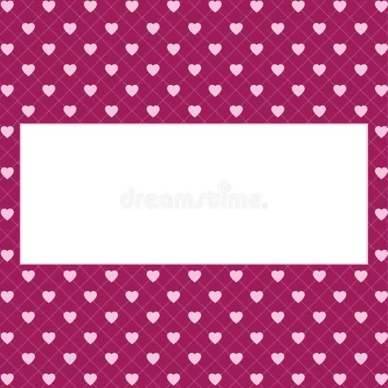 Fundo do teste padrão dos corações com quadro para o texto O dia de Valentim e do dia de mãe cartão com bandeira da beira, convit fotos de stock