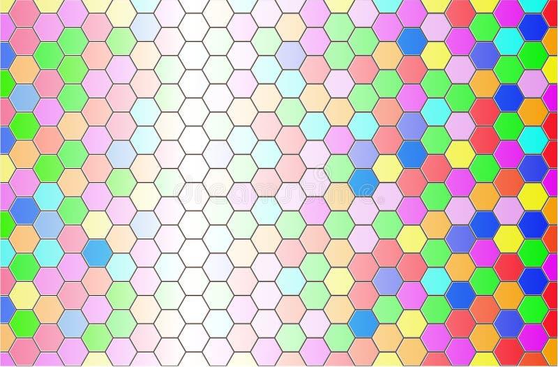 Fundo do teste padrão do hexágono com cor da gradação ilustração stock