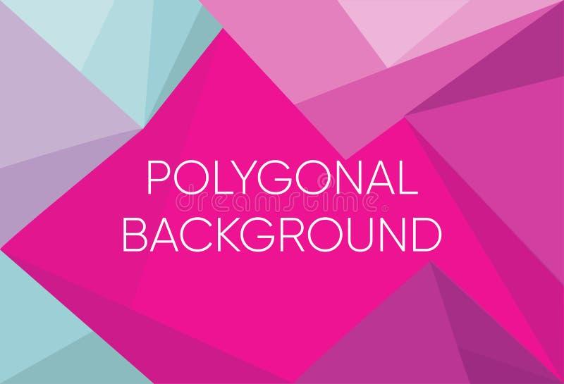Fundo do teste padrão do polígono do triângulo e cor violeta e azul do inclinação Baixo fundo de cristal poli roxo azul polygon ilustração royalty free