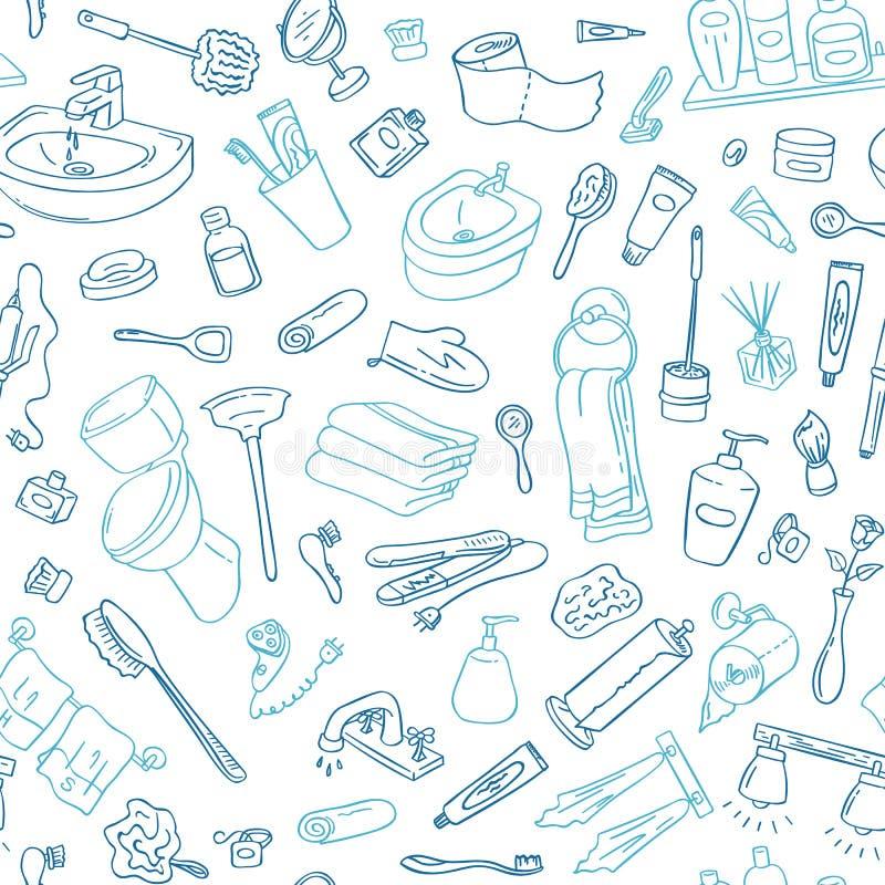 Fundo do teste padrão do vetor com ilustração tirada mão dos elementos do banheiro da garatuja ilustração stock