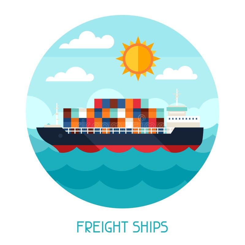 Fundo do transporte dos navios do frete no projeto liso ilustração do vetor