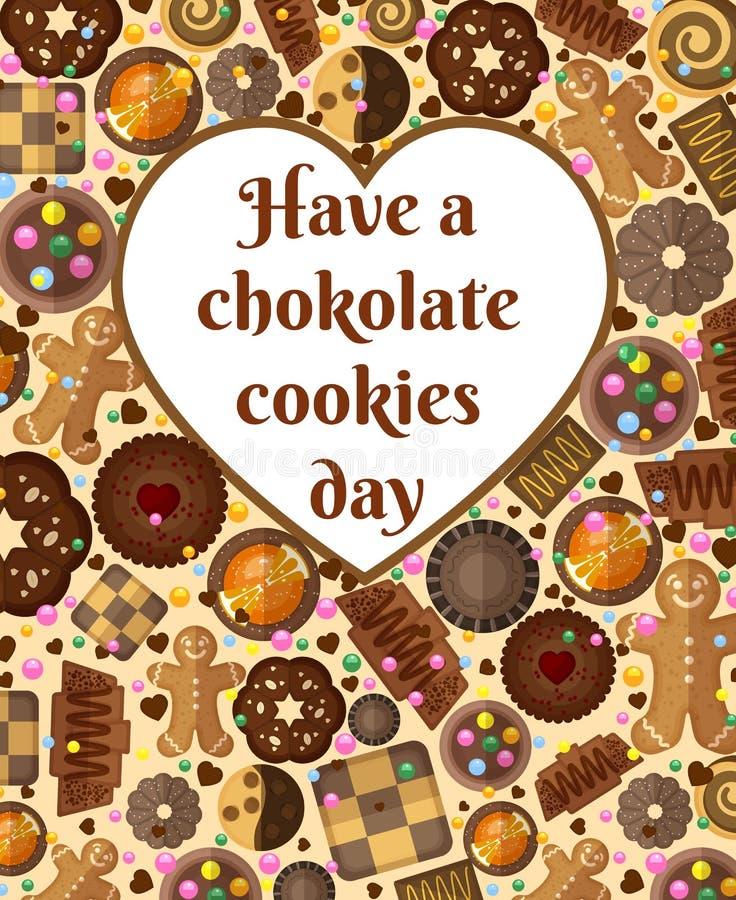 Fundo do vale-oferta com cookies do chocolate e ilustração stock