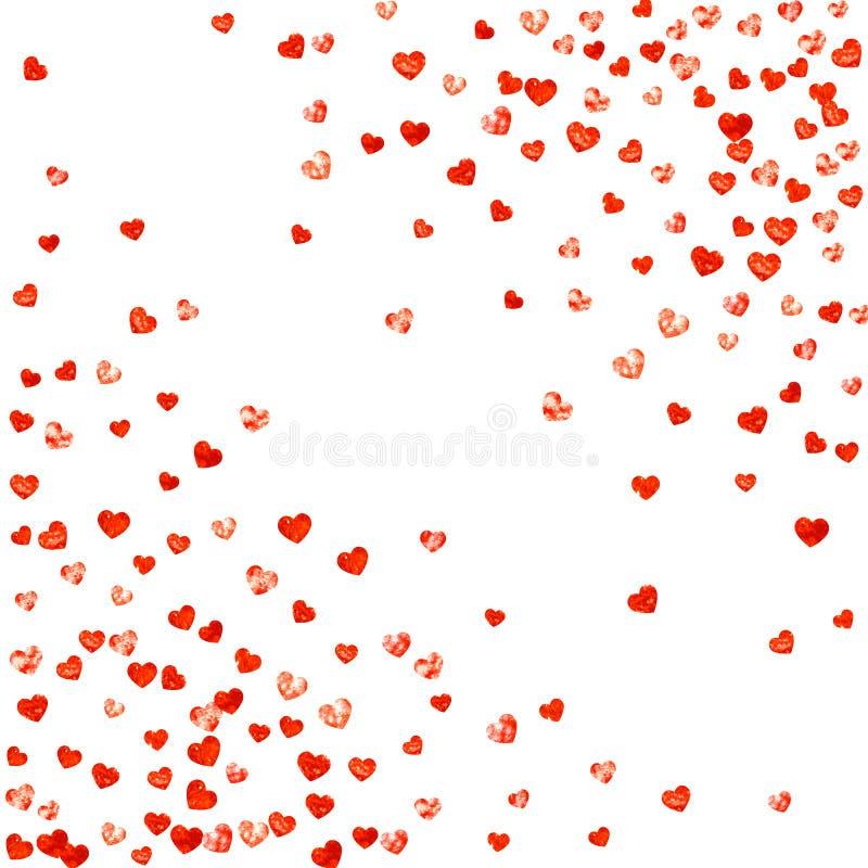 Fundo do Valentim com corações cor-de-rosa do brilho 14 de fevereiro dia Confetes do vetor para o molde do fundo do Valentim ilustração royalty free