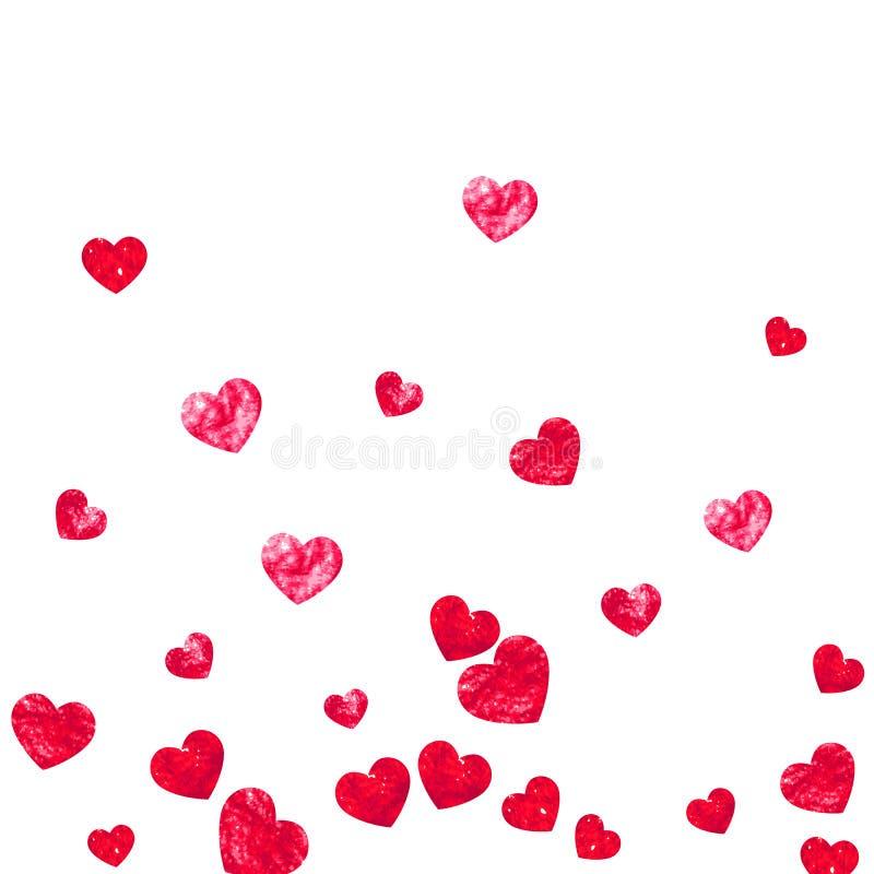 Fundo do Valentim com corações cor-de-rosa do brilho 14 de fevereiro dia Confetes do vetor para o molde do fundo do Valentim ilustração stock