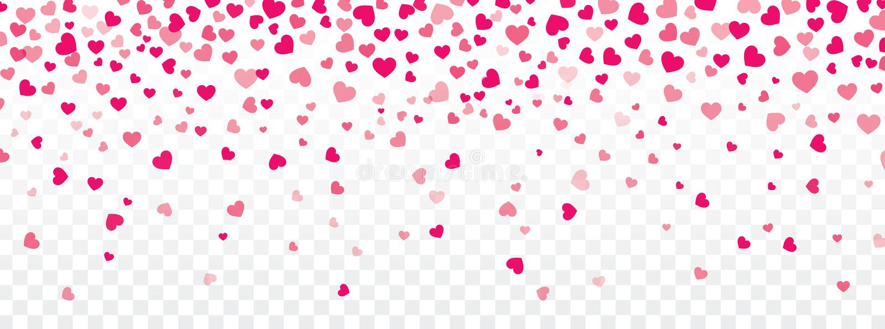 Fundo do Valentim com os corações que caem em transparente ilustração stock