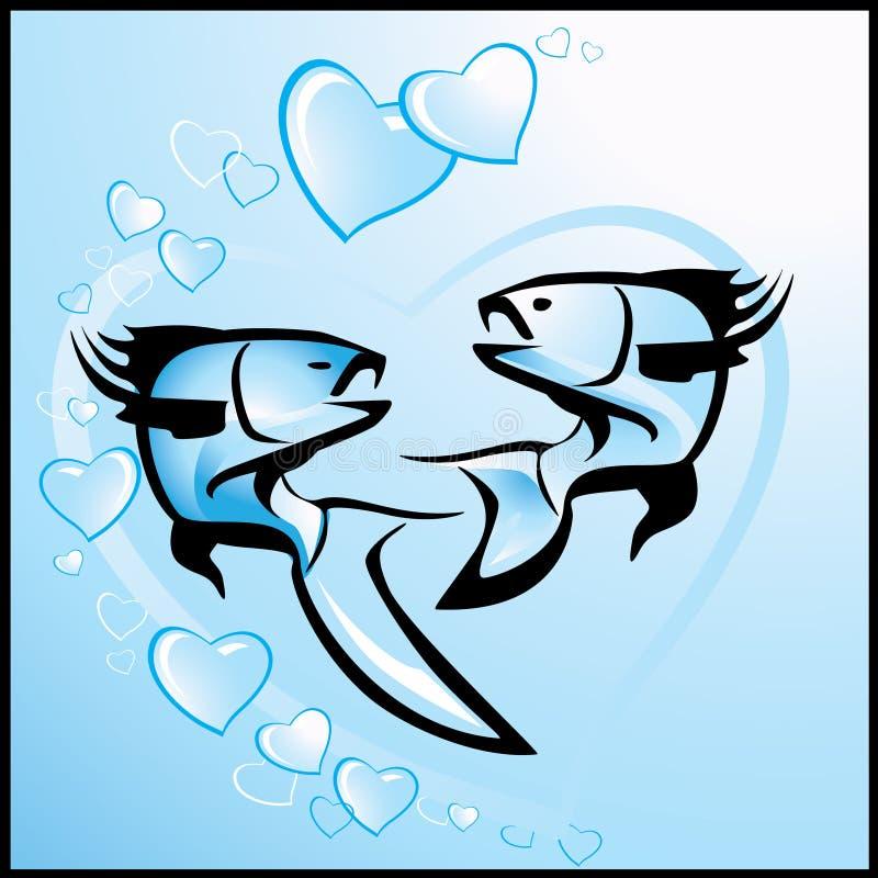 Fundo do Valentim com peixes ilustração do vetor