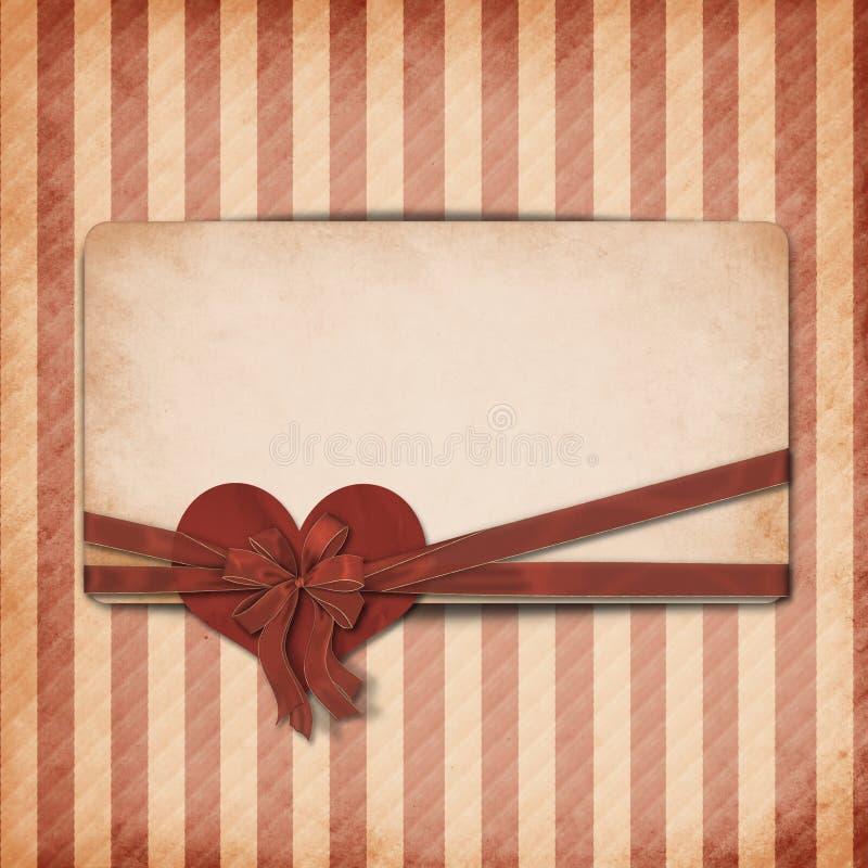 Fundo do Valentim do vintage com cartão ilustração do vetor