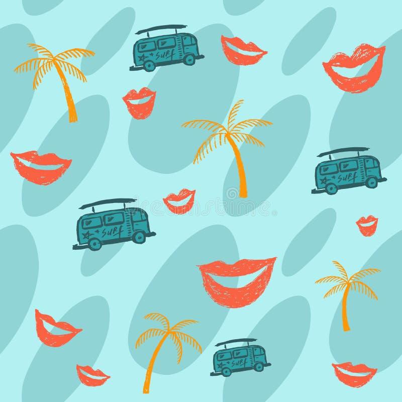 Fundo do verão com palmeiras, ônibus e bordos ilustração stock