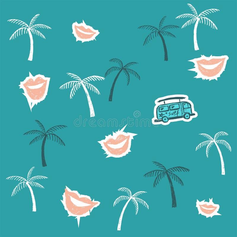 Fundo do verão com palmeiras, ônibus e bordos ilustração royalty free