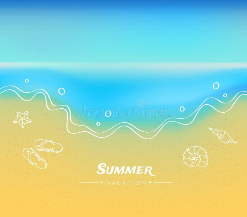 Fundo do verão com areia e água ilustração royalty free