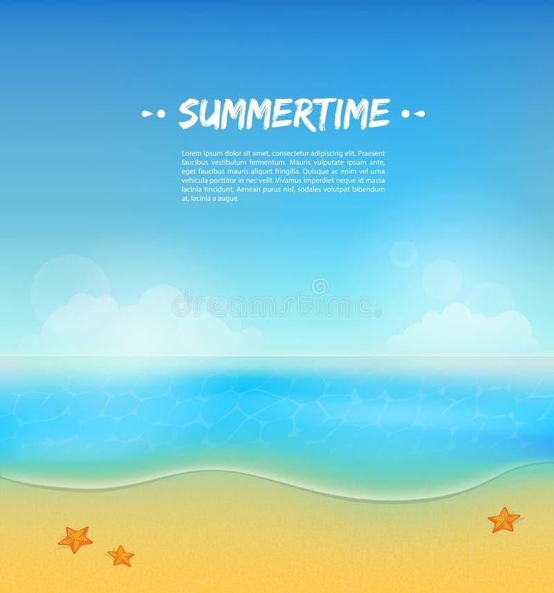 Fundo do verão com areia e água ilustração stock