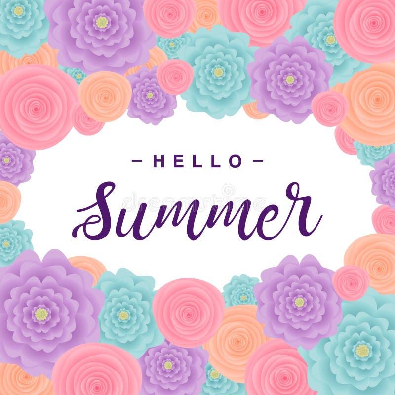 Fundo do verão com as flores, rotulando o ` do verão do ` olá! Ilustração do vetor fotos de stock royalty free