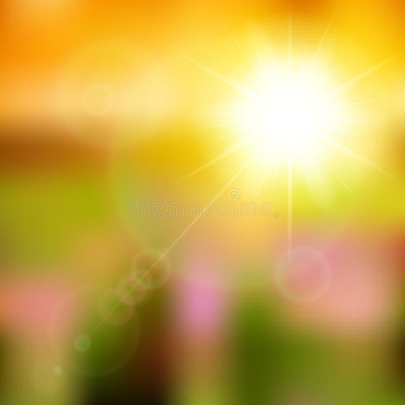Fundo do verão com explosão do sol com alargamento da lente. ilustração do vetor