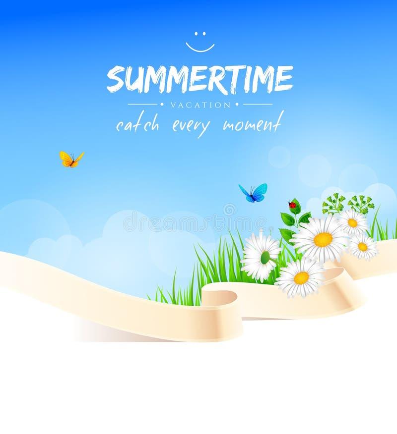 Fundo do verão com grama ilustração stock