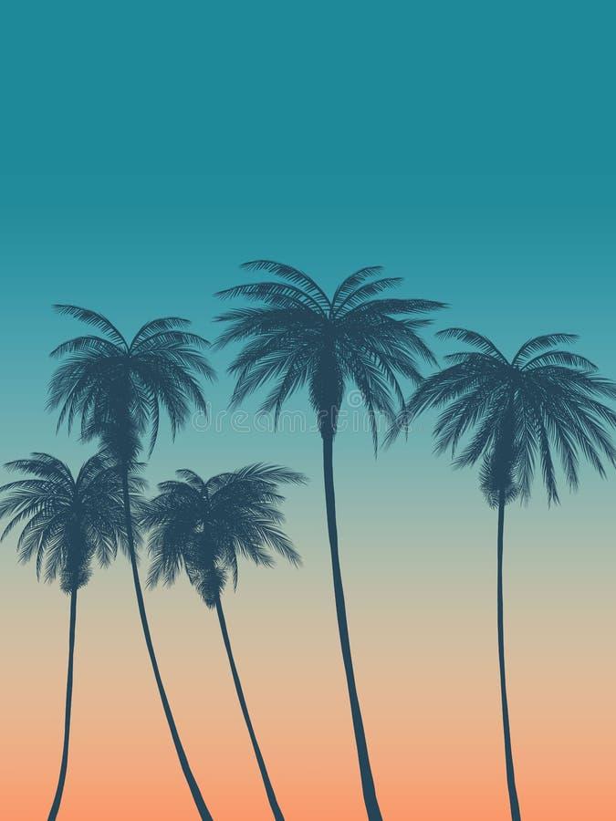 Fundo do verão com palmas, céu e por do sol Cartão do convite do inseto do cartaz do cartaz do verão ilustração do vetor