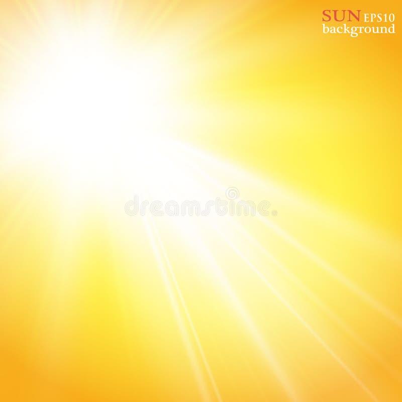 Fundo do verão com um estouro magnífico do sol do verão com alargamento da lente Espaço para seu texto ilustração stock