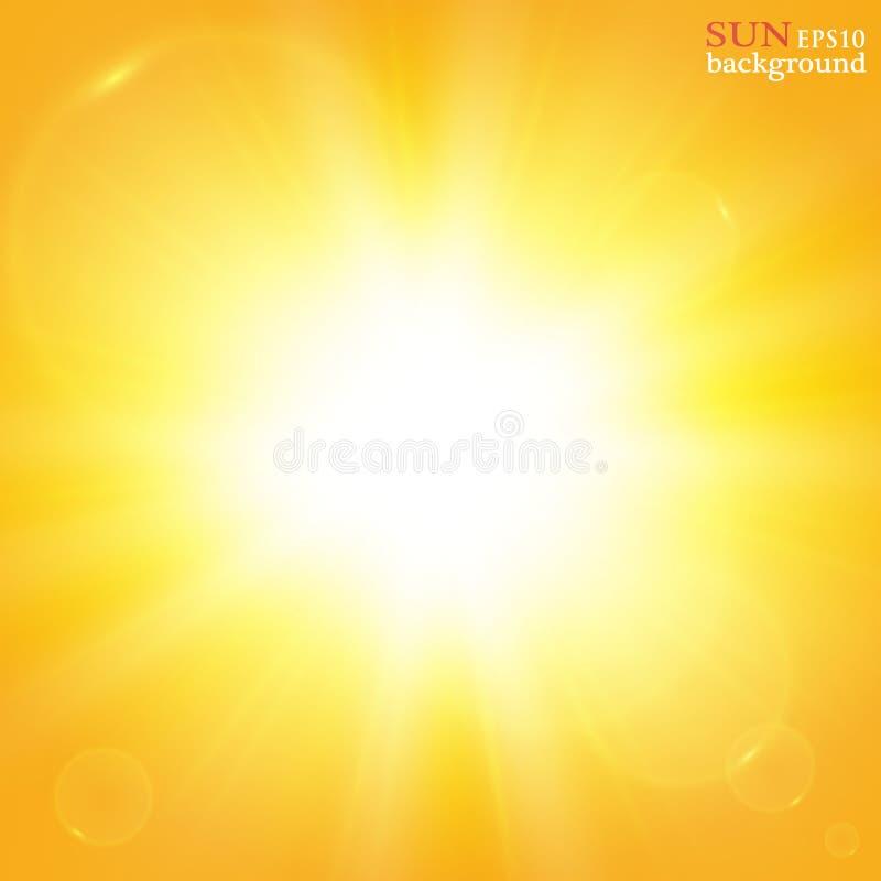 Fundo do verão com um estouro magnífico do sol do verão com alargamento da lente Espaço para seu texto ilustração do vetor