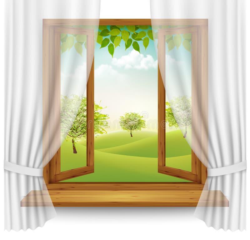 Fundo do verão da natureza com quadro de janela de madeira ilustração do vetor