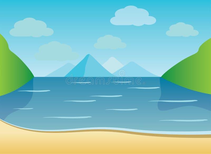 Fundo do verão da praia com ondas, nuvens ilustração do vetor