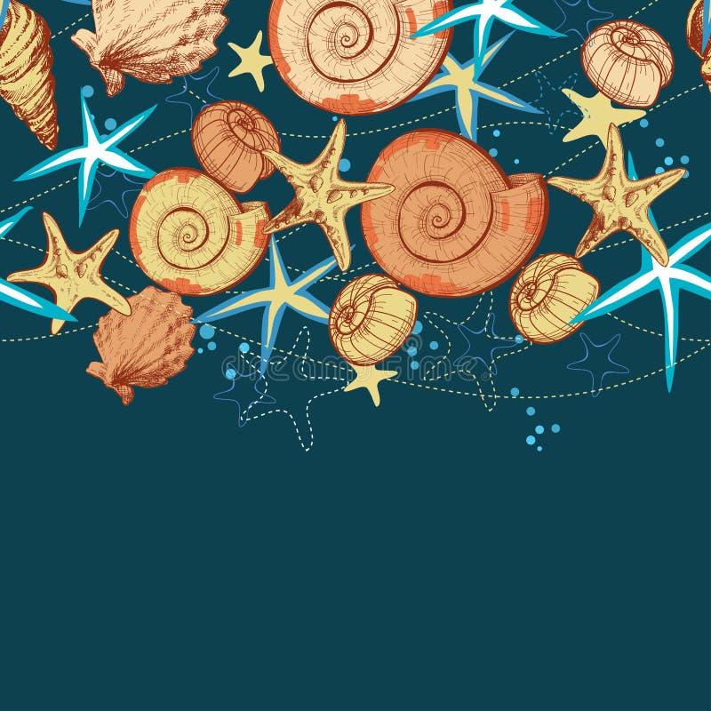 Fundo do verão da vida marinha ilustração royalty free