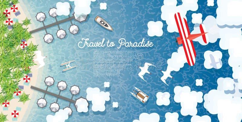 Fundo do verão de Maldivas com mar, praia tropical, palmas, Hote ilustração stock