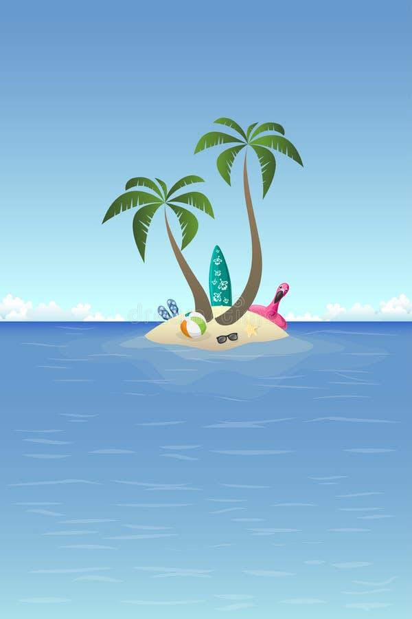 Fundo do verão - ilha arenosa no oceano com palmas e grupo da praia ilustração stock