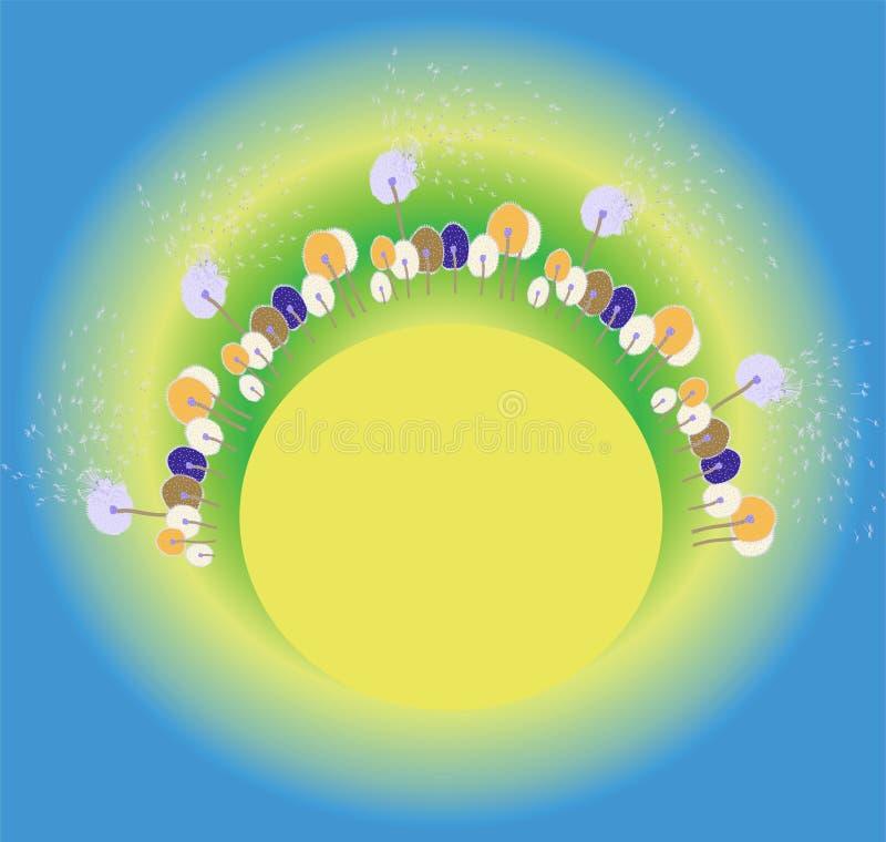 Fundo do verão ou da mola com os dandellions secos coloridos dos desenhos animados abstratos no contexto brilhante ilustração stock