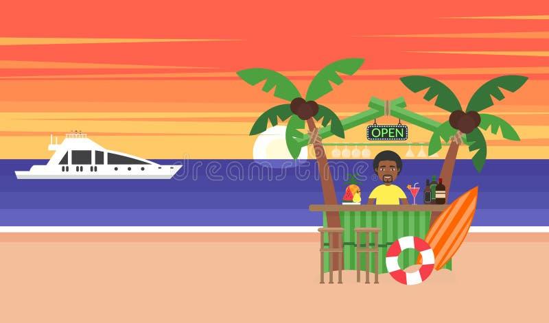 Fundo do verão - praia do por do sol Férias no oceano O sol que vai para baixo sobre o horizonte é por do sol Homem africano Sea ilustração royalty free