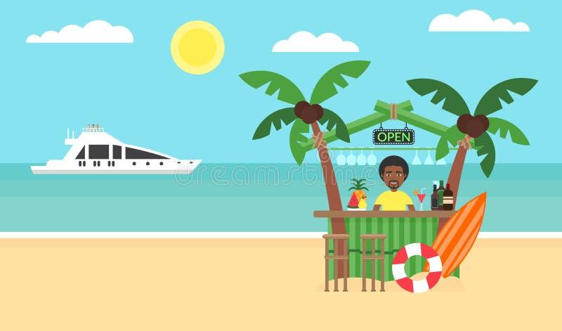 Fundo do verão - praia do por do sol Mar, iate e uma palmeira Homem africano Projeto liso moderno Ilustração do vetor ilustração royalty free