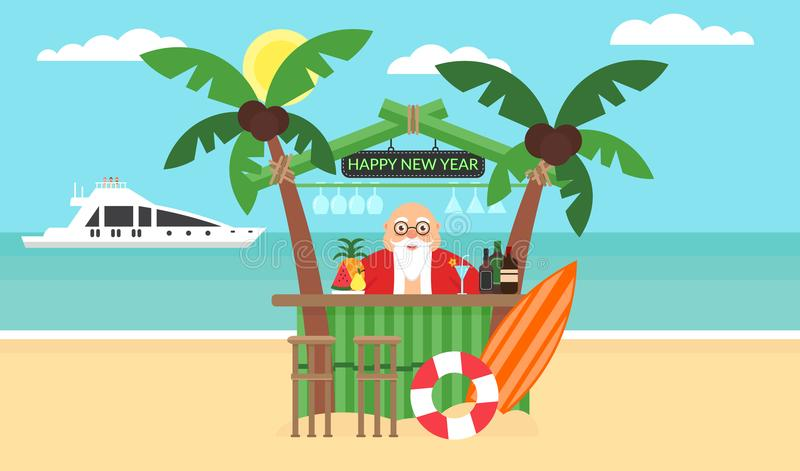 Fundo do verão - praia ensolarada Feliz Natal e ano novo Mar, iate, palmeira e barman bonito Santa moderno ilustração do vetor