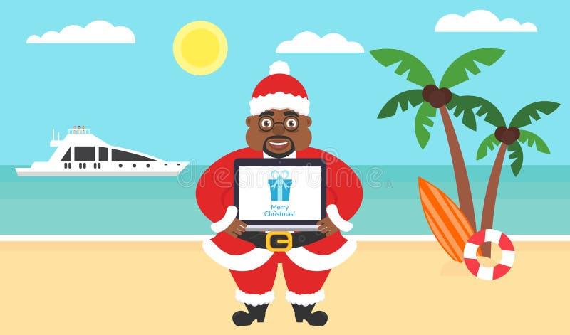 Fundo do verão - praia ensolarada Mar, iate, palmeira e afro-americano Santa Computador com felicitações para alegre ilustração stock