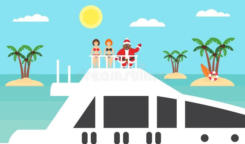 Fundo do verão - praia ensolarada Mar, palmeira e afro-americano Santa no iate Meninas nos biquinis Feliz Natal e ano novo modali ilustração royalty free