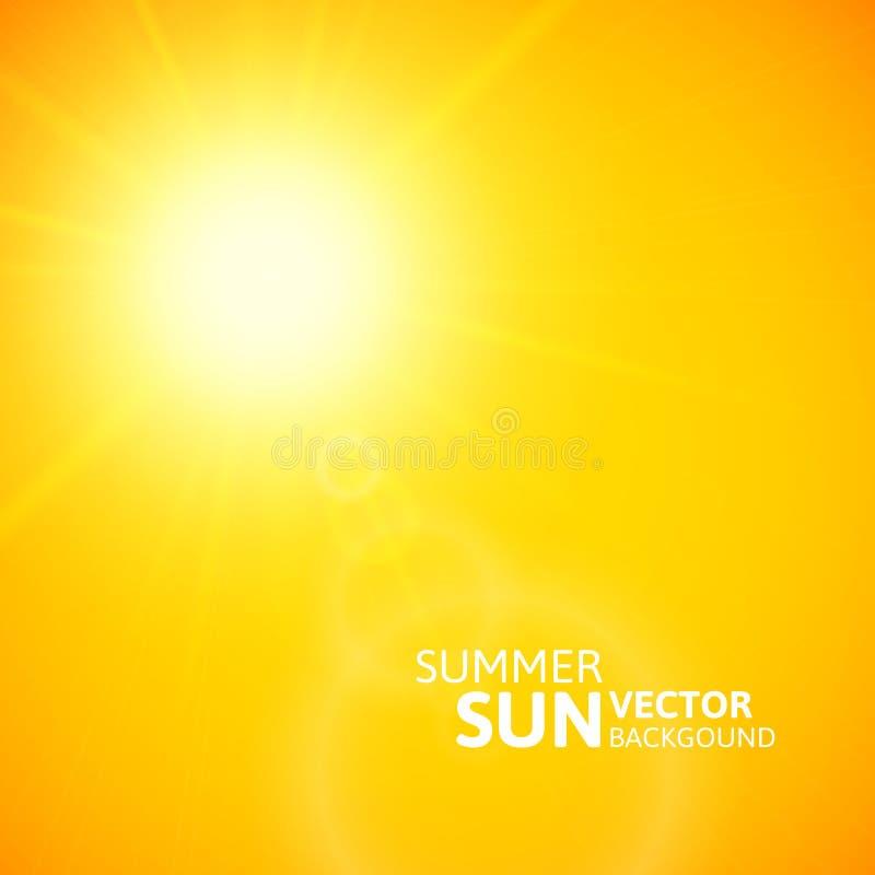 Fundo do verão, sol do verão com alargamento da lente ilustração royalty free