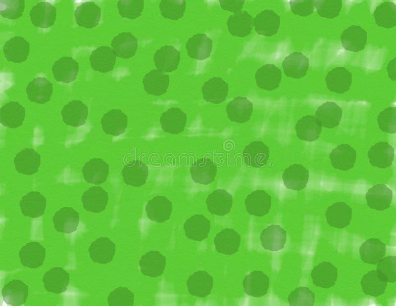 Fundo do verde da aquarela do sumário com escuro - pontos verdes ilustração stock