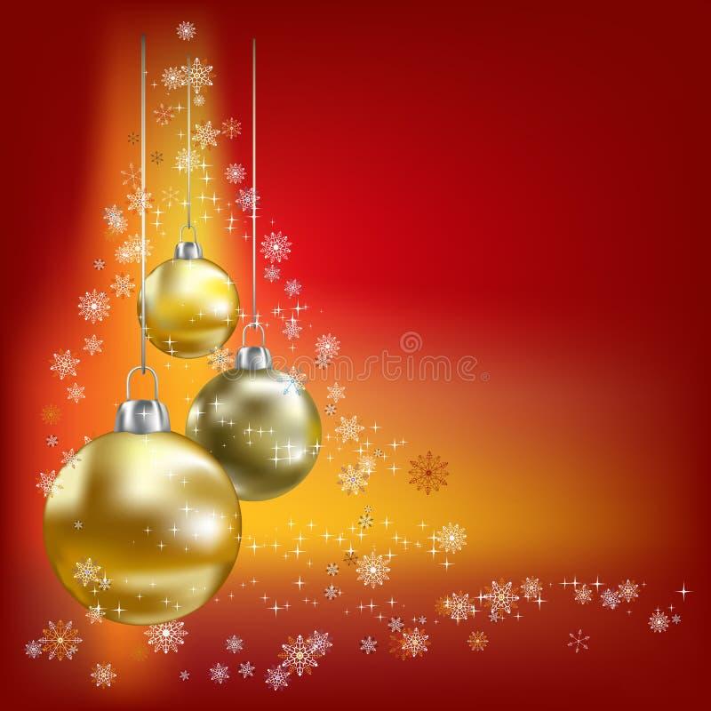 Fundo do vermelho das esferas e das estrelas do Natal ilustração stock