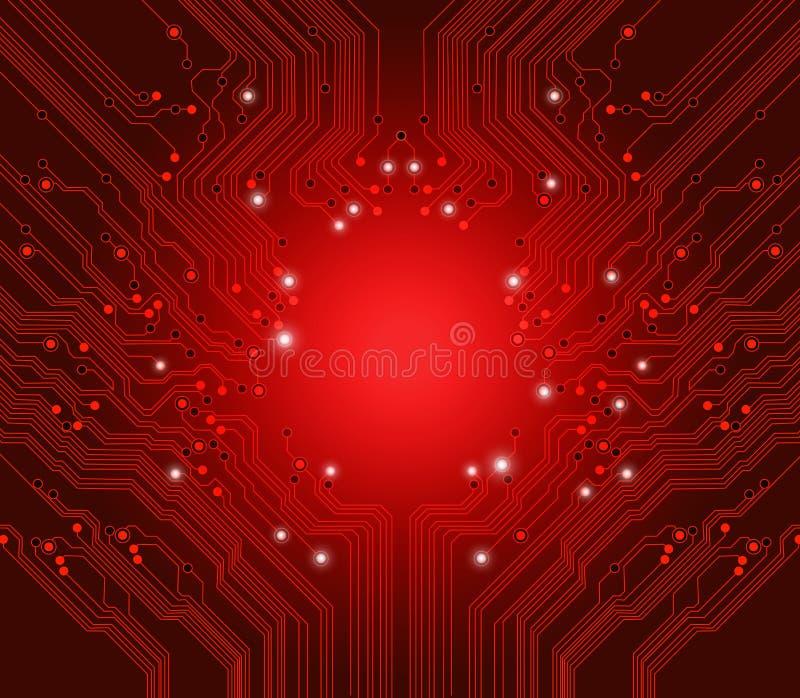 Fundo do vermelho do vetor da placa de circuito ilustração stock
