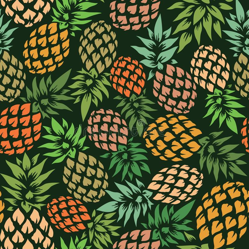 Fundo do vetor do abacaxi Cópia tropical colorida de matéria têxtil do verão ilustração do vetor