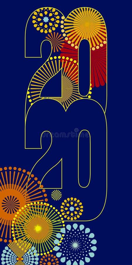 Fundo 2020 do vetor do ano novo feliz foto de stock royalty free