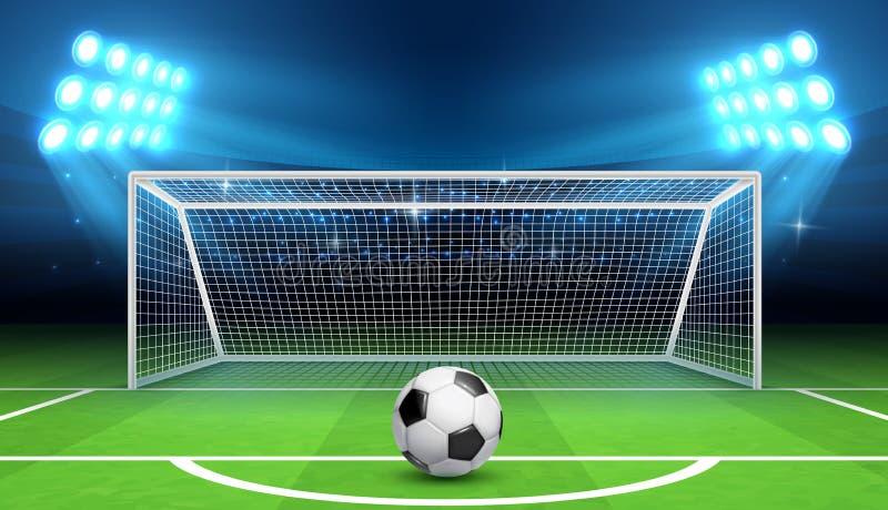 Fundo do vetor do campeonato do futebol do futebol com bola e objetivos dos esportes Conceito do pontapé de grande penalidade ilustração royalty free
