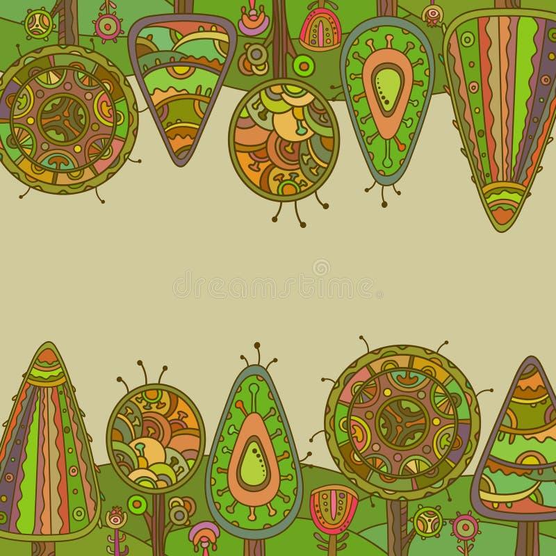 Fundo do vetor com árvores decorativas ilustração stock