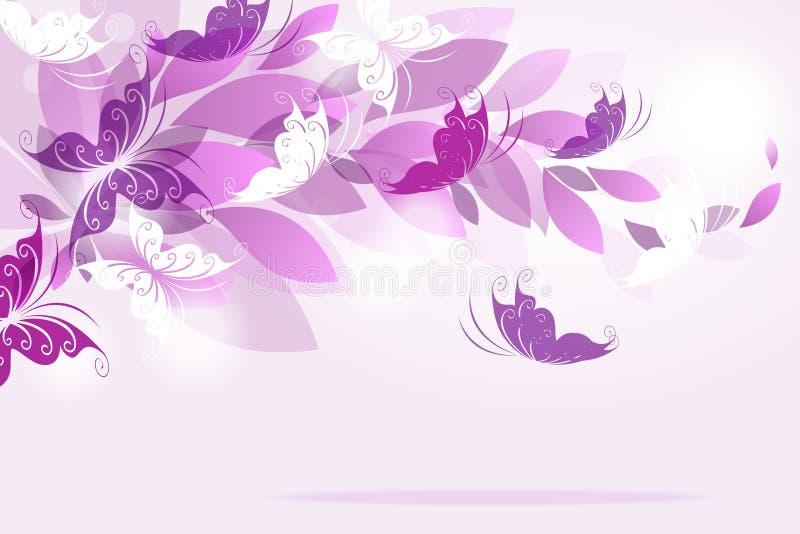 Fundo do vetor com borboletas ilustração stock