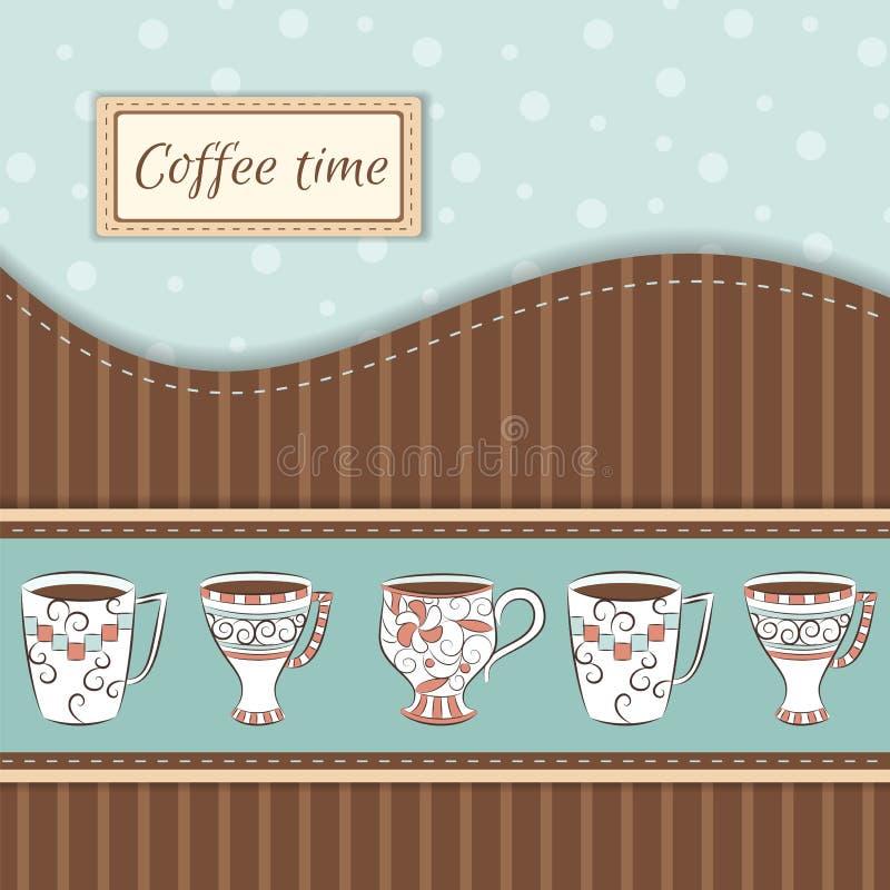 Fundo do vetor com canecas de café ilustração royalty free