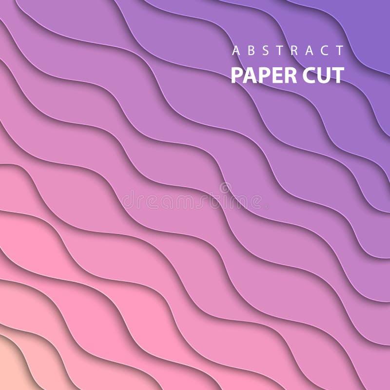 Fundo do vetor com corte do papel do rosa e da cor do inclinação do lila ilustração stock