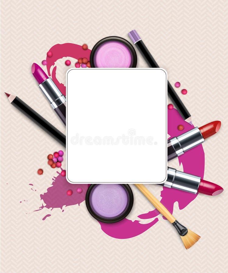 Fundo do vetor com cosméticos e composição (Molde do inseto) ilustração do vetor