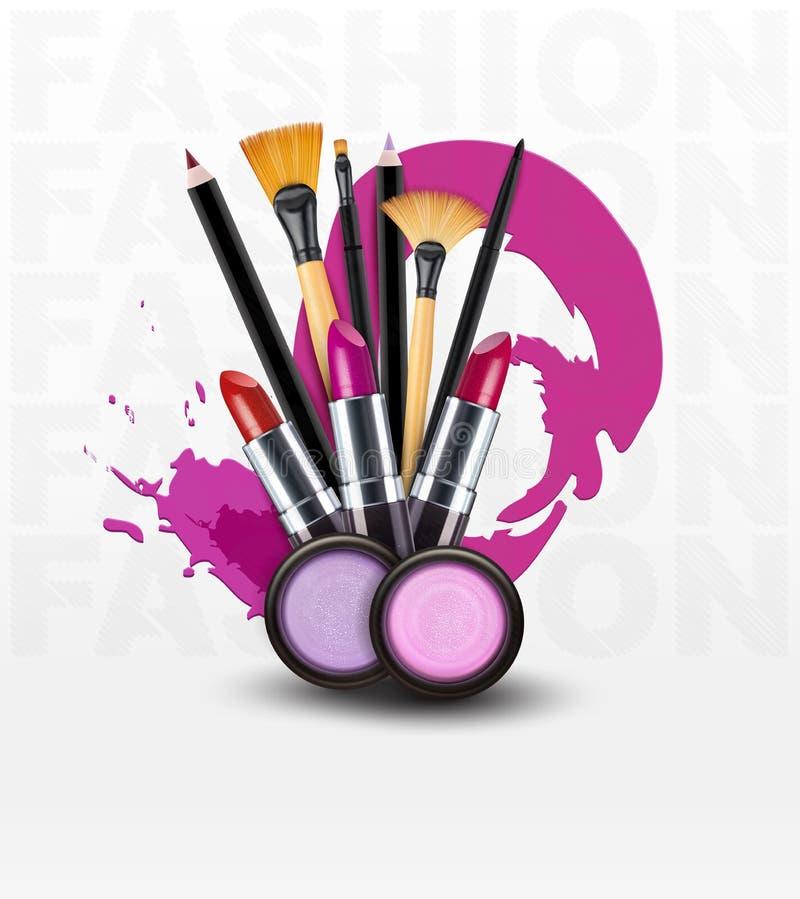 Fundo do vetor com cosméticos e objetos da composição (Tem do inseto ilustração stock