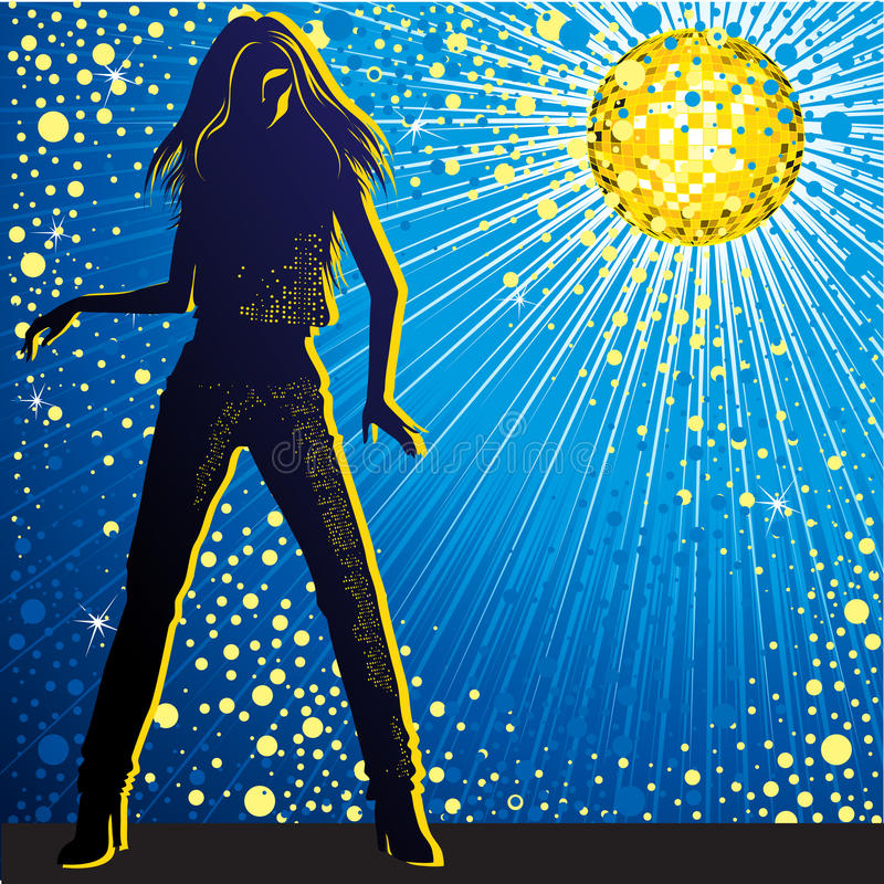 Fundo do vetor com dança da menina no night-club ilustração royalty free